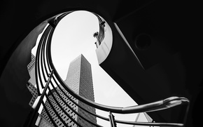 Картинка skyscraper, Singapore, black and white, staircase, stairs, b/w, Downtown Core, Marina Centre, Suntec City