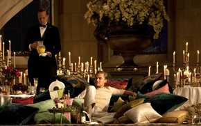 Картинка Нью-Йорк, свечи, напитки, особняк, New York, Леонардо ДиКаприо, блюда, Leonardo DiCaprio, The Great Gatsby, американская …
