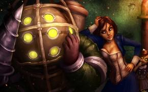 Картинка девушка, игра, большой папочка, BioShock Infinite, Элизабет