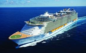 """Картинка море, волны, Oasis of the Seas, круизное судно, класса Oasis, кильватерный след, """"Оазис морей"""""""