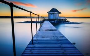Картинка озеро, Норвегия, мостик, Norway, Fornebu, банька