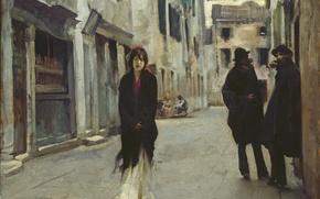 Картинка Girl, Loneliness, Beautiful, Art, Asian, Street, Men, Girls, Female, Wallpaper, Venice, Woman, Background, Artwork, Painting, …