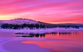 Картинка зима, небо, облака, снег, деревья, горы, озеро