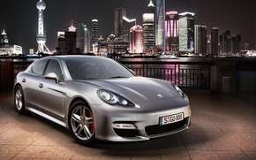 Обои город, огни, Porsche, серебристый