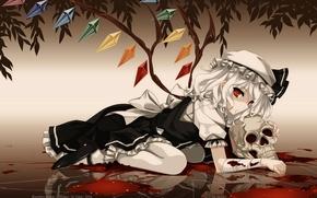 Картинка череп, красные глаза, touhou, art, вампирша, лужа крови, Flandre Scarlet, Kurehito Misaki