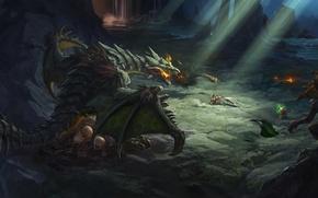 Картинка камни, дракон, яйца, защита, арт, пещера, гоблины
