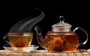 Обои цветок, чай, чайник, чашка, черный фон, блюдце