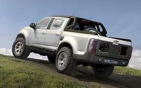 Картинка Concept, небо, серый, Chevrolet, холм, Колорадо, джип, внедорожник, концепт, Шевроле, вид сзади, пикап, Rally, Ралли, ...