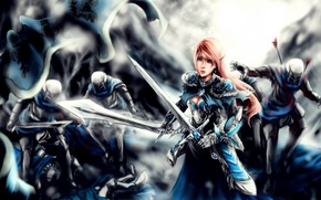 Картинка девушка, эльф, бой, арт, girl, сражение, воины, soldiers, art, fight, battle, elf