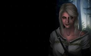 Обои Cirilla, фон, Witcher 3: Wild Hunt, арт, зеленые глаза, Ciri, девушка, лес