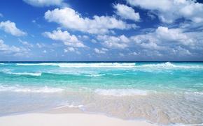 Обои волны, вода, Облака, песок
