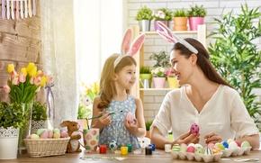 Картинка Девушка, Тюльпаны, Дети, Пасха, Яйца, Корзинка, Девочка
