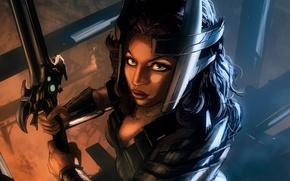 Картинка девушка, оружие, меч, фэнтези, арт, Loyvet Pierre