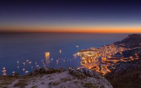 Картинка море, небо, закат, горы, город, корабль, яхта, Monte-Carlo