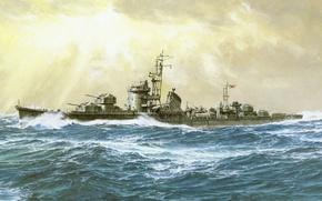 Картинка корабль, арт, флот, военный, японский, эсминец, WW2, destroyer, IJN, Hanatsuki