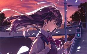 Картинка небо, девушка, закат, провода, аниме, наушники, арт, плеер, форма, школьница, misaki kurehito