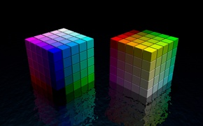 Картинка отражение, цвет, Кубики