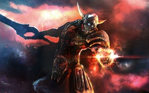 Обои магия, молнии, меч, доспехи, Воин