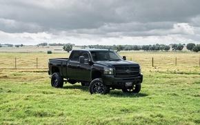 Картинка черный, Chevrolet, шевроле, пикап, Black, Avalanche, аваланш
