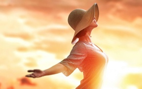 Картинка девушка, полет, шляпа