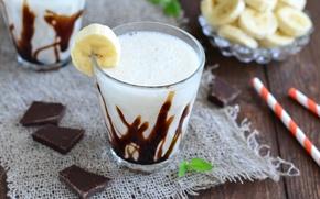 Обои шоколад, коктейль, банан, молочный