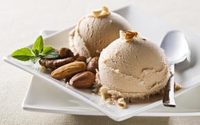 Обои мороженое, шарики, сладкое, миндаль, орехи, грецкие, тарелки, ложка