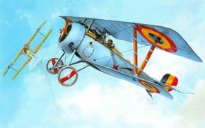 Картинка самолет, истребитель, арт, времена, фирмы, французский, Nieuport Ni-23, WWI, первая мировая война., участвовал, Nieuport Delage