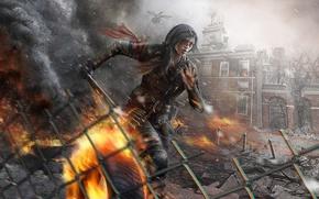 Картинка девушка, город, огонь, разрушение, руины, мачете, Homefront: The Revolution