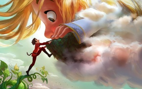 Картинка cinema, Disney, sky, long hair, big, cloud, man, boy, cartoon, movie, face, blonde, beans, hand, …