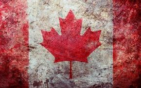 Обои флаг, wallpapers, поверхность, обои, потертость, canadian, grunge, канада, текстура, texture, flag