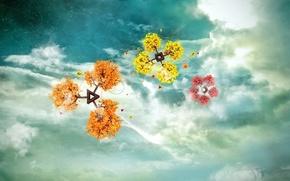 Картинка небо, облака, цветы, фантазии