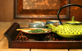 Картинка чай, чайник, ложка, заварка, поднос, чайная церемония, пиалы