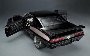 Картинка фон, чёрный, тюнинг, купе, 1969, Камаро, Шевроле, Camaro, вид сзади, tuning, Muscle car, Мускул кар, …
