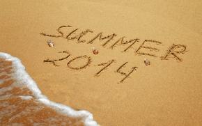 Картинка песок, море, пляж, лето, надпись, summer, beach, sand, writing, 2014