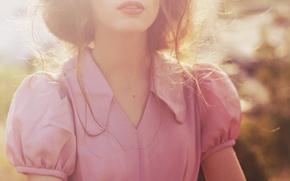 Картинка девушка, розовая, волосы, блузка, рубашка