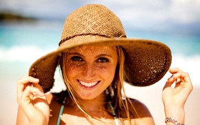 Картинка девушка, girl, шляпка, smile, face, весёлая, Alana Blanchard