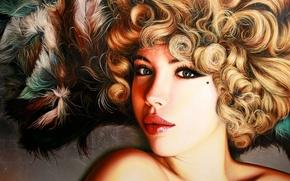 Картинка взгляд, девушка, лицо, волосы, перья, арт, блондинка, губы, родинка, плечи, кудри, зеленые глаза, Christiane Vleugels