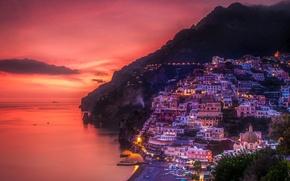 Картинка море, горы, ночь, огни, скалы, Италия, Позитано