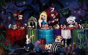 Картинка мышь, кролик, столы, лягушки, торт, Алиса в стране чудес, Шляпник, Чешир