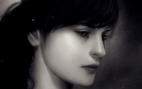 Картинка крупный план, портрет, Девушка, искры, monochrome, монохромный