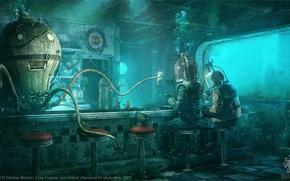 Картинка осьминог, водолазы, под водой, Stéphan Brisson, Elise Frappier, Octopus Diner, Valerie Villeneuve