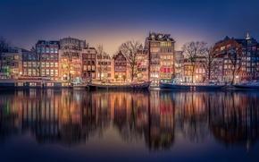 Картинка ночь, канал, Amsterdam