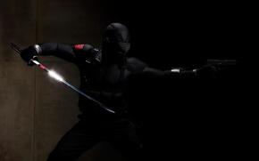 Обои ниньзя, черный, меч, пистолет