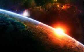 Обои солнце, Планета, звезды, атмосфера