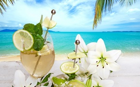 Картинка пляж, коктейль, summer, напиток, beach, fresh, flowers, fruit, drink, cocktail, palms, tropical