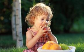 Картинка лето, настроение, яблоко, девочка