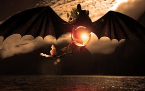Обои море, полёт, сфера, дракончик, Беззубик, Как приручить дракона, animated film, Wazzy88, Toothless, The pokeball of ...