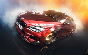 Картинка BMW, Red, Car, Smoke, Prior Design, Brake