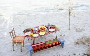 Обои стол, пляж, еда