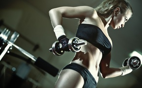 Картинка blonde, fitness, gym, dumbbell